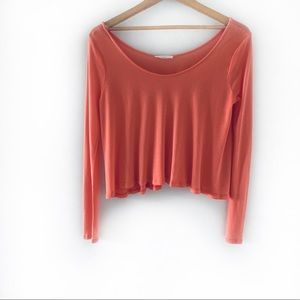 Nordstrom Lush Long Sleeve Orange Cropped Top XS